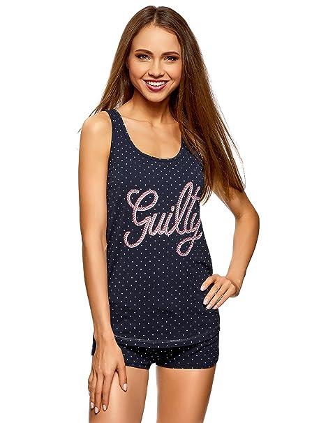 oodji Ultra Mujer Pijama con Camiseta de Tirantes y Pantalones Cortos, Azul, ES 38