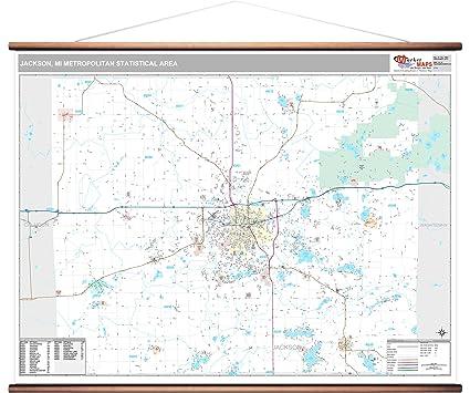 Jackson Mi Zip Code Map.Amazon Com Jackson Mi Metro Area Wall Map 2018 Zip Codes