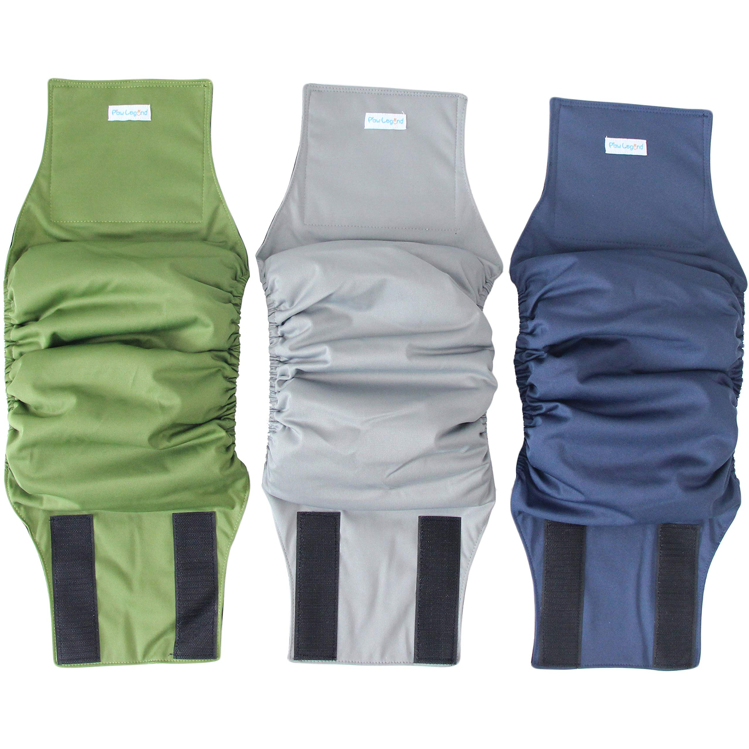 Paw Legend Washable Dog Belly Wrap Diapers for Male Dog (3 Pack)