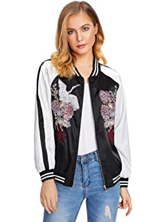d5b2b6a0ade25 Floerns Women's Casual Floral Phoenix Embroidered Short Bomber Jacket Coat