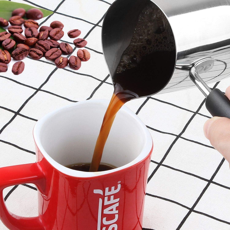 Cappuccino 304 Edelstahl Espresso Kaffee Aselected Milchk/ännchen zum Aufsch/äumen kleine Milchk/ännchen f/ür Latte Kunst 350 ml