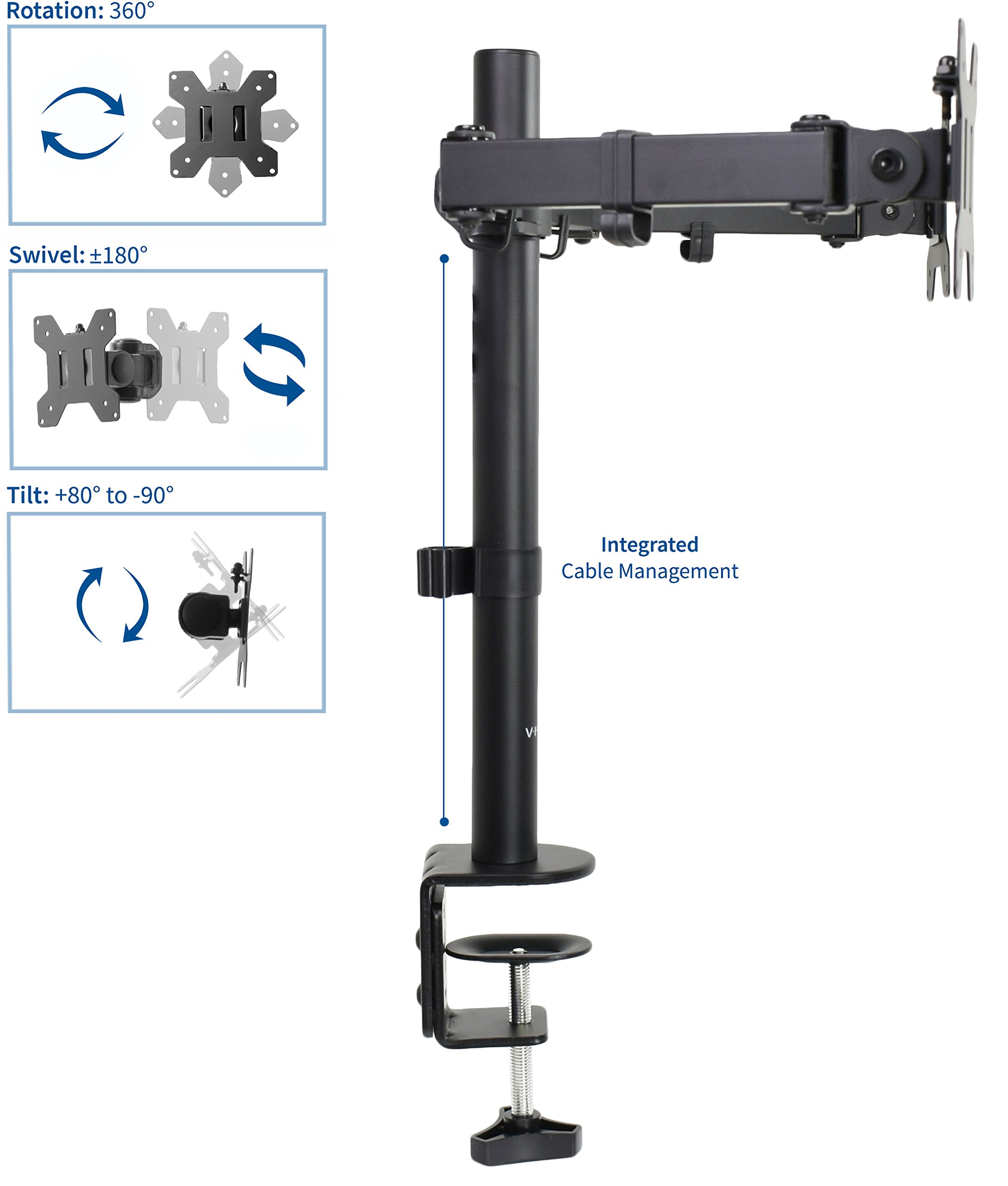 VIVO Dual LCD LED Monitor Desk Mount Stand Heavy Duty Fully Adjustable fits 2/Two Screens up to 27'' (STAND-V002) by VIVO (Image #3)