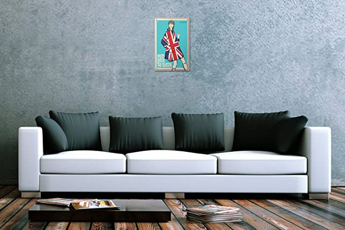 Blechschild Retro  Mod save the Queen Frau Mantel England Flagge 1966 Wand Metal