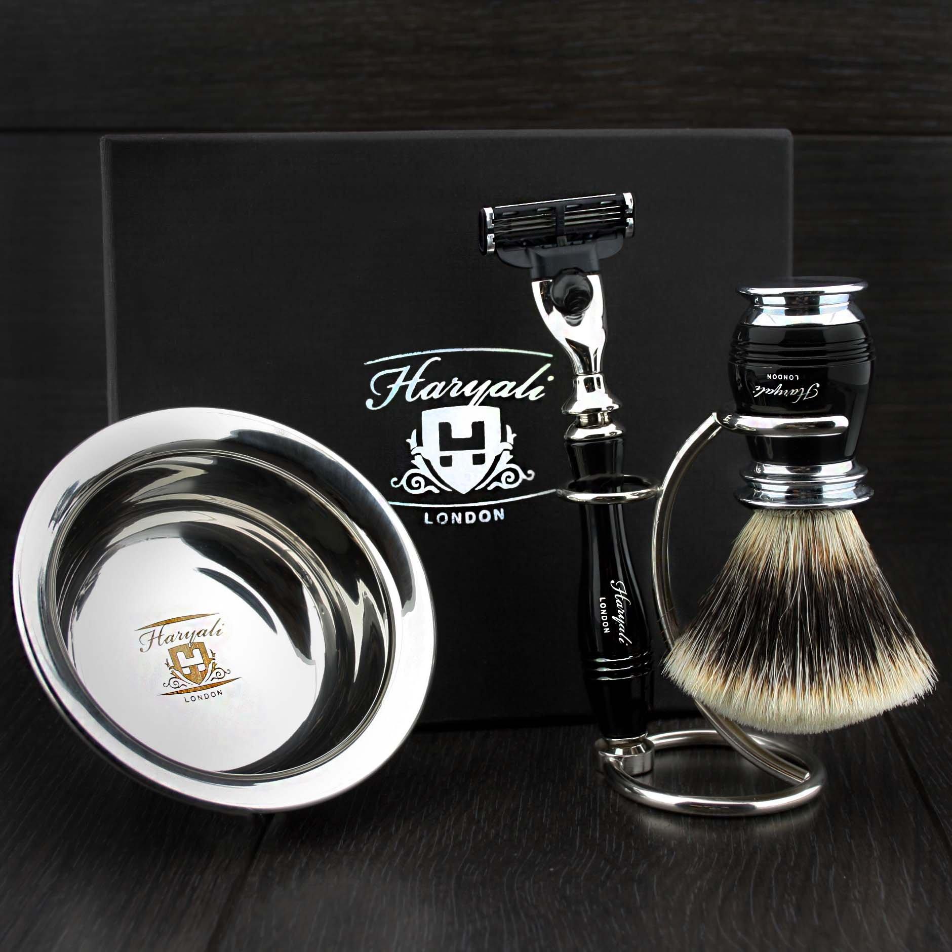 Haryali London 4 Pc Mens Shaving Kit 3 Edge Razor With Silver Tip Badger Hair Shaving Brush, Stand and Stainless Steel Bowl Perfect Set For Men by Haryali London