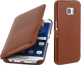 StilGut Book Type Case con Clip, custodia in pelle per Samsung Galaxy S7 edge, Cognac