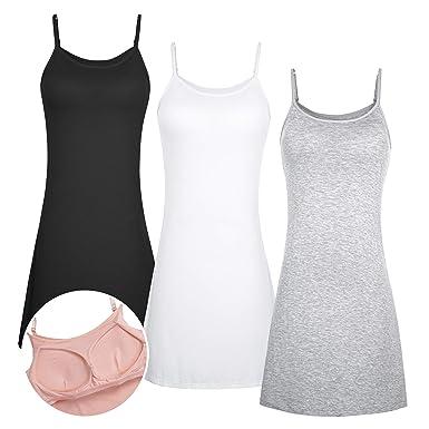 dd58524bce0f9 DYLH 3packs Women s Nightgown Full Slip Chemise Padded Bra Nightshirt Dress  Sleepwear