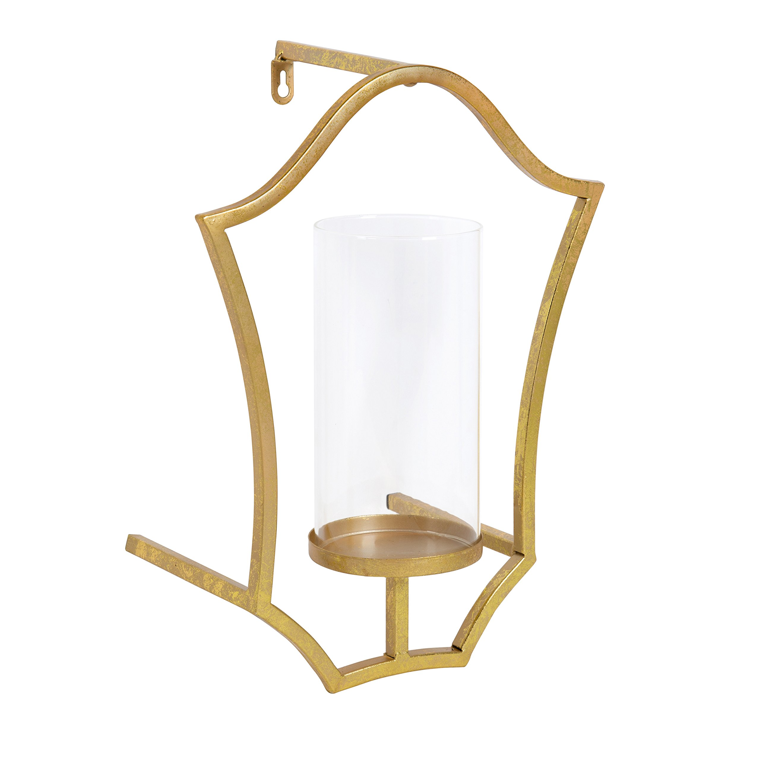 Kate and Laurel Curran Shield Metal Sconce Wall Candle Holder, with Glass Pillar, Gold