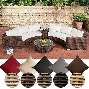 Rattan lounge halbrund  Amazon.de: CLP Poly-Rattan Garten Lounge Set rund, BARBADOS, 2x 3er ...