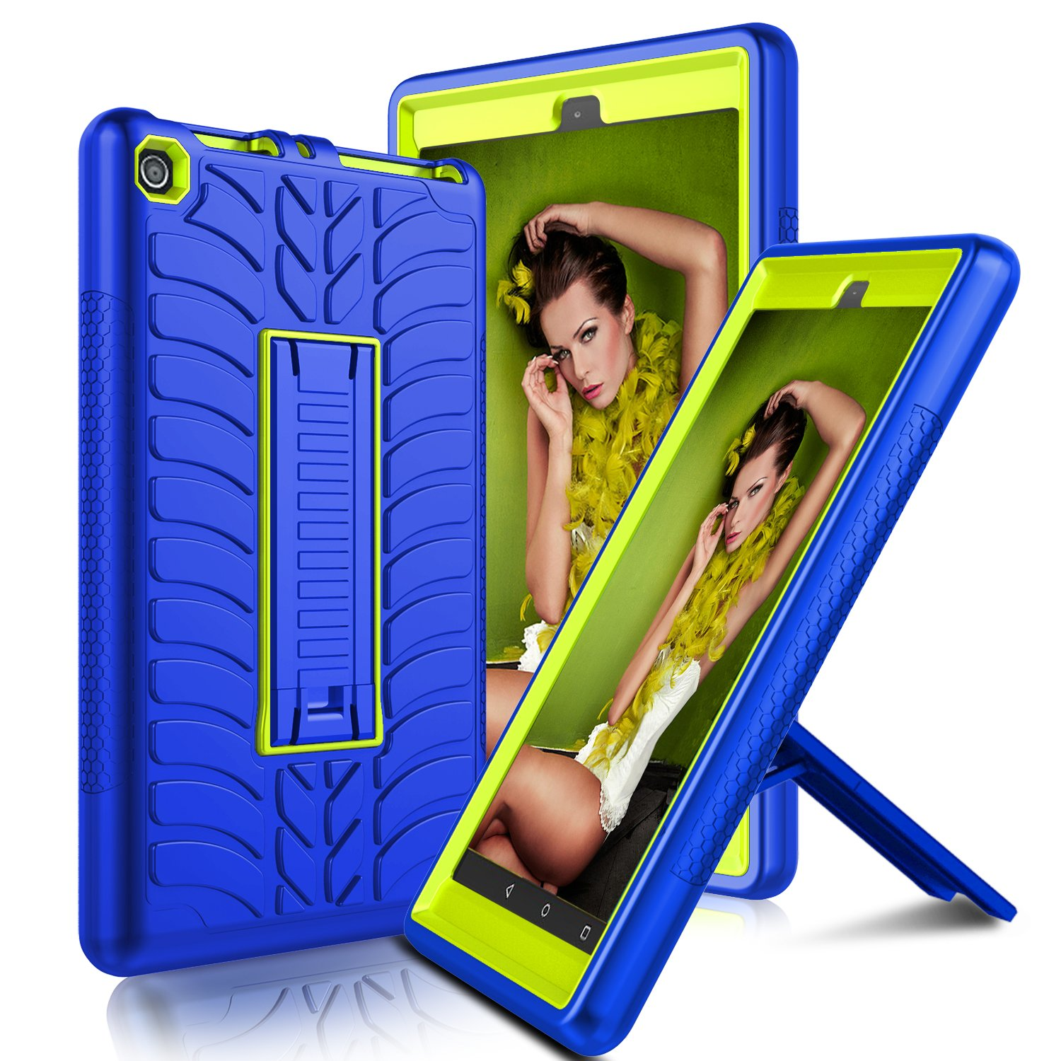 Elegant Choise All-New Amazon Fire 8 2017 Case with Kickstand Heavy Duty Shockproof Full Body Defender Armor Rugged Protective Cover Case for Amazon Kindle Fire 8 2017 Release (Yellow/Blue)