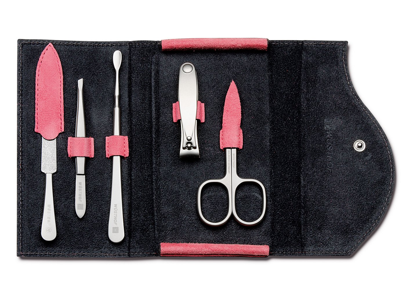 Wusthof Stainless Steel 6 Piece Manicure Set with Pink Case 9135