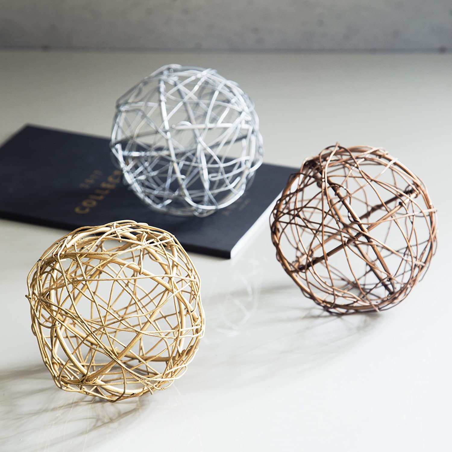 4 Metal Decorative Orbs Decor Set of 3 Gold Silver /& Copper Ball Spheres Kitchen Home Office Bathroom Dining /& Living Room Accents Desktop Coffee Table Bowl Centerpiece Vase Fillers /& Mantles