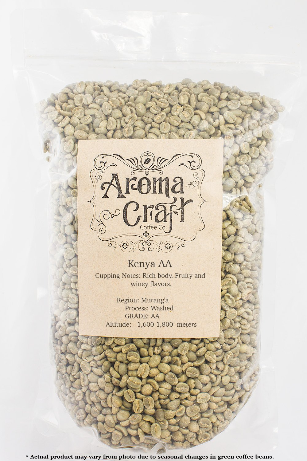 Kenya AA Washed Unroasted Green Coffee Beans (10 LB)