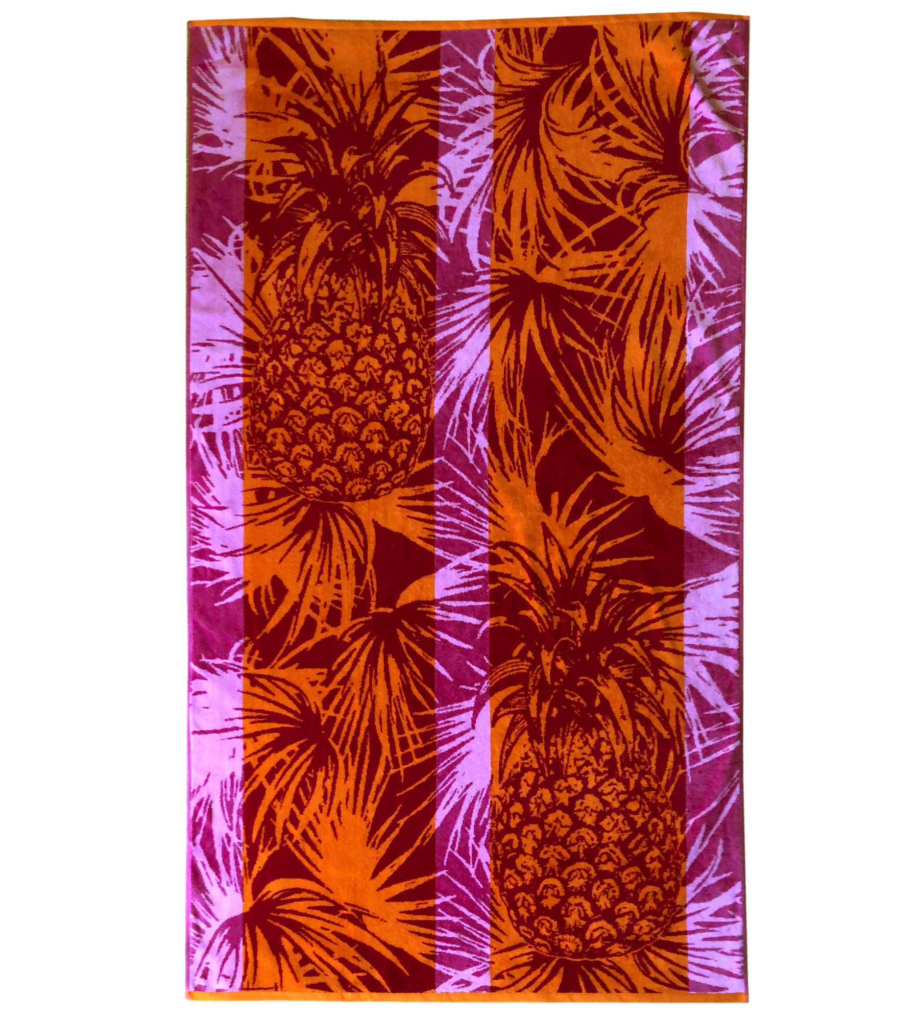 Espalma Over Sized Luxury Beach Towel, Large Size 70 Inch x 40 Inch Soft Velour and Reversible Absorbent Cotton Terry, Thick and Plush Jacquard Beach Towel, Orange/Pink Pineapple Stripe