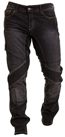 Qaswa Hombre Motocicleta Pantalones Moto Jeans con