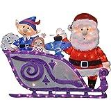 "ProductWorks 16366 42"" Rudolph Santa and Misfit Toys Sleigh Seasonal Outdoor Décor, Multi"