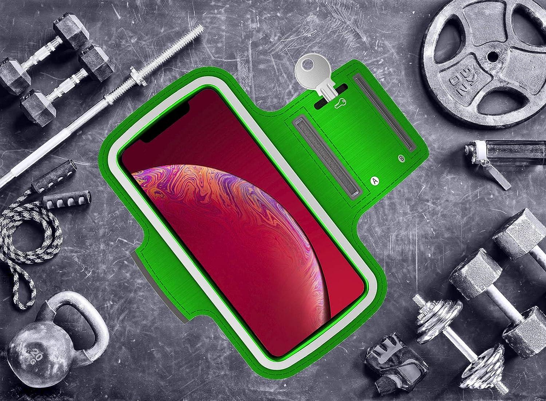 Brazalete deportivo Xiaomi Redmi Note 5A de neopreno antideslizante anti-sudor funda deportiva Xiaomi Redmi Note 5A brazalete Xiaomi Redmi Note 5A soporte para llaves cable tarjetas verde