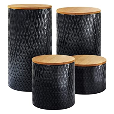 American Atelier Diamond Embossed Canister Set 4-Piece Ceramic Jars Chic Design With Lids for Cookies, Candy, Coffee, Flour, Sugar, Rice, Pasta, Cereal & More Navy