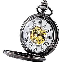 TREEWETO Mens Classic Mechanical Steampunk Pocket Watch Black Case Roman Numerals, White