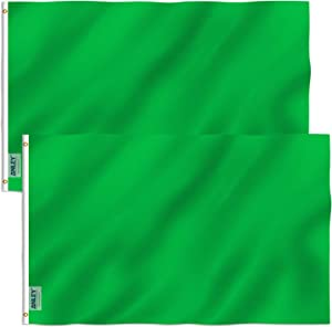 Anley Pack of 2 Fly Breeze 3x5 Foot Solid Green Flag - Vivid Color and Fade Proof - Canvas Header and Double Stitched - Plain Green Flags Polyester with Brass Grommets 3 X 5 Ft