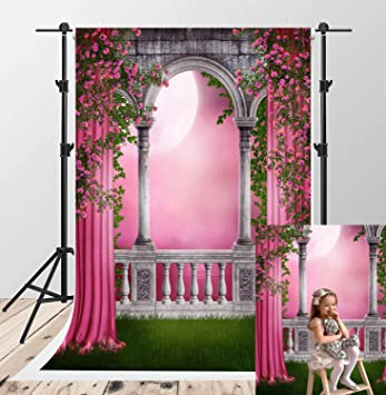 Amazon Com Kate 5x7ft Spring Garden Photography Backdrops Green Grassland Photographic Backdrops Pink Curtain Balcony Flowers Photo Booth Backdrop Children Wedding Photoshoot Studio Background Camera Photo