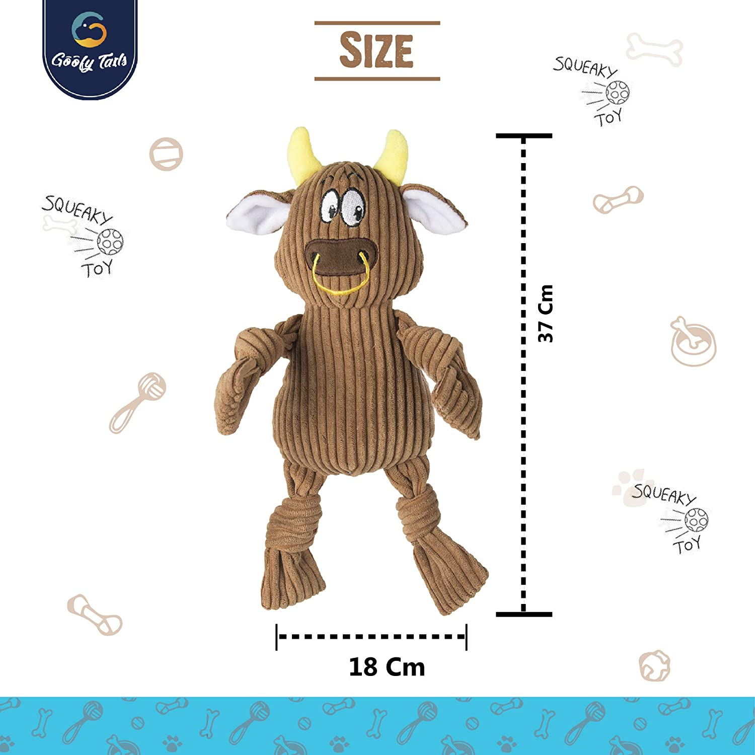 Buy Goofy Tails Fluffy Brown Cow Squeaky Plush Dog Toy For Small Medium Breeds Online At Low Prices In India Amazon In