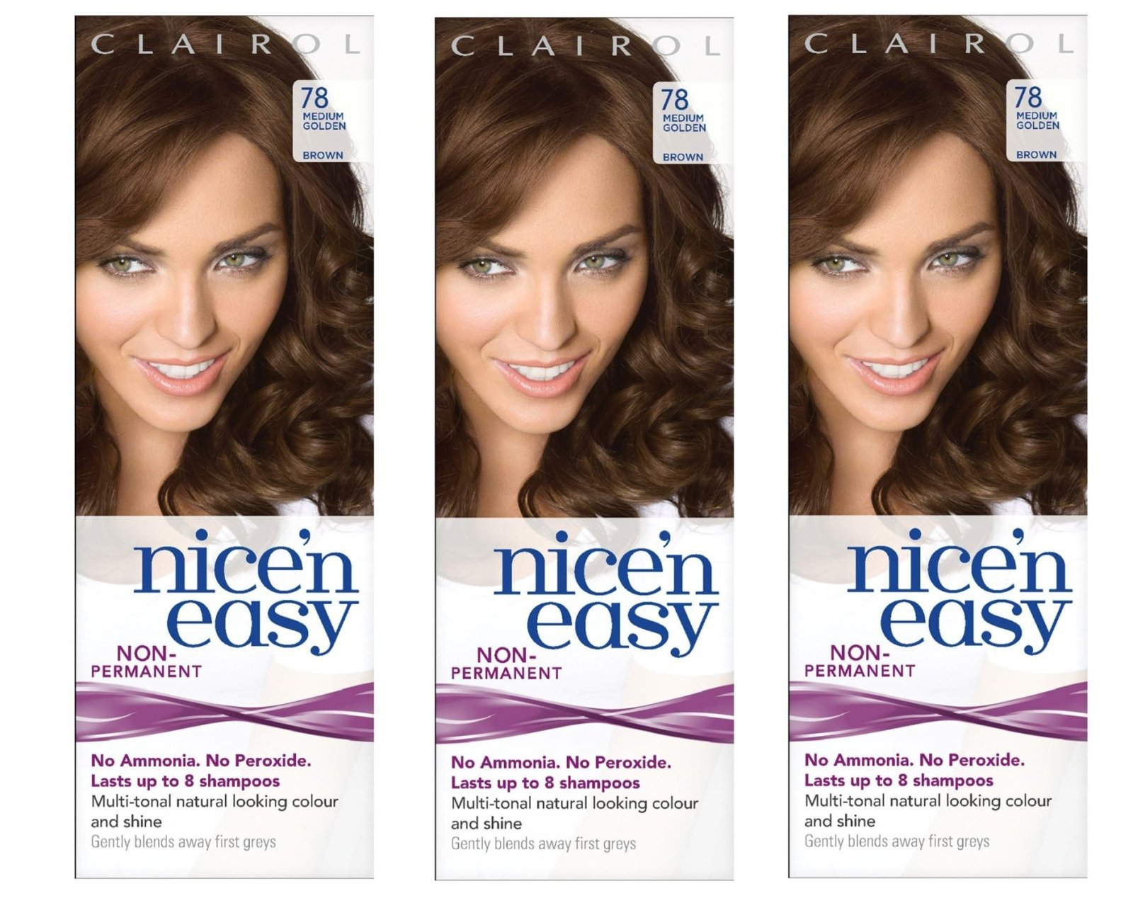 Clairol nice'n easy non permanent #78 medium gold, UK Loving Care (Pack of 3) + FREE Old Spice Deadlock Spiking Glue, Travel Size.84 Oz
