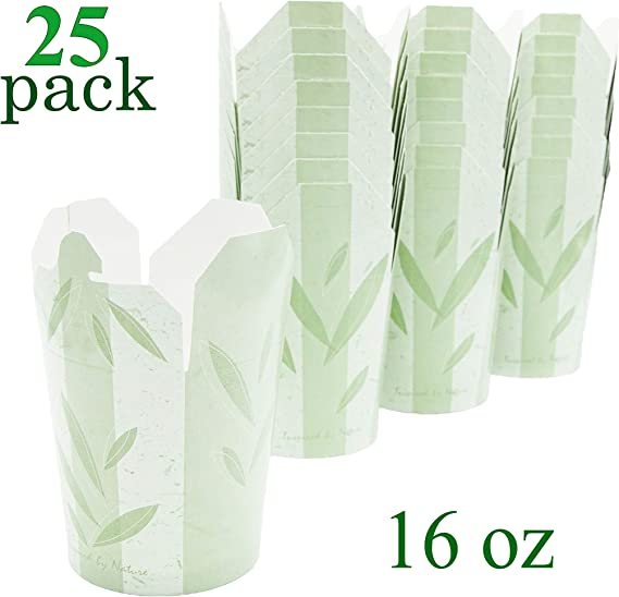 Takeout Paper Food Container - Pint 16 oz - Pack of 25 boxes - Green Leaves Print - Microwaveable - Disposable