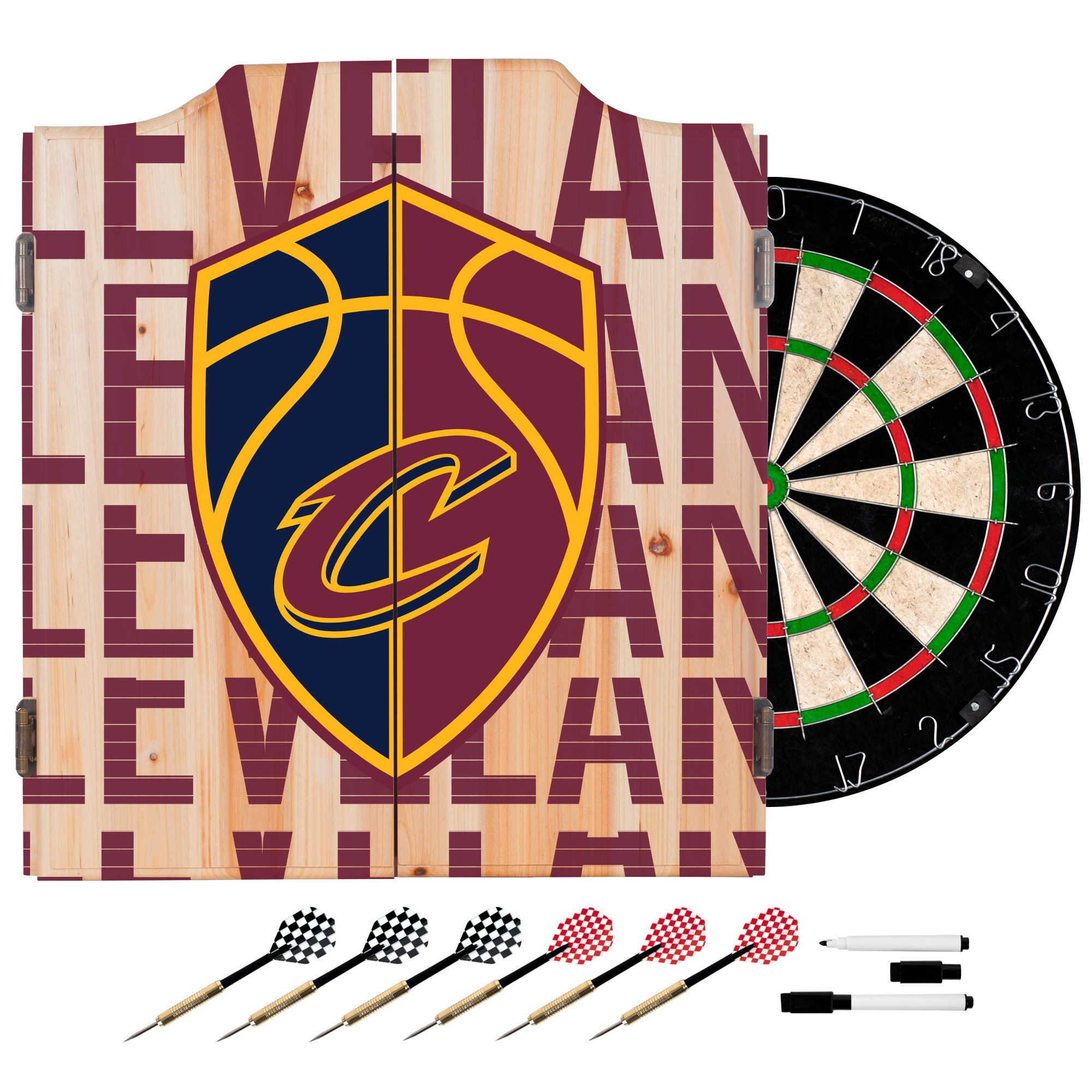 Trademark Gameroom NBA7010-CC3 NBA Dart Cabinet Set with Darts & Board - City - Cleveland Cavaliers