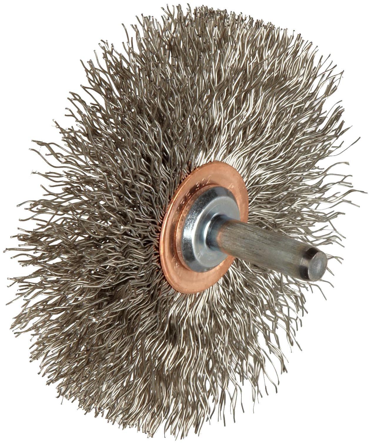 Weiler Narrow Face Wire Wheel Conflex Brush, Round Shank, Stainless Steel 302, Crimped Wire, 3'' Diameter, 0.014'' Wire Diameter, 1/4'' Shank, 1'' Bristle Length, 1/2'' Brush Face Width, 20000 rpm by Weiler