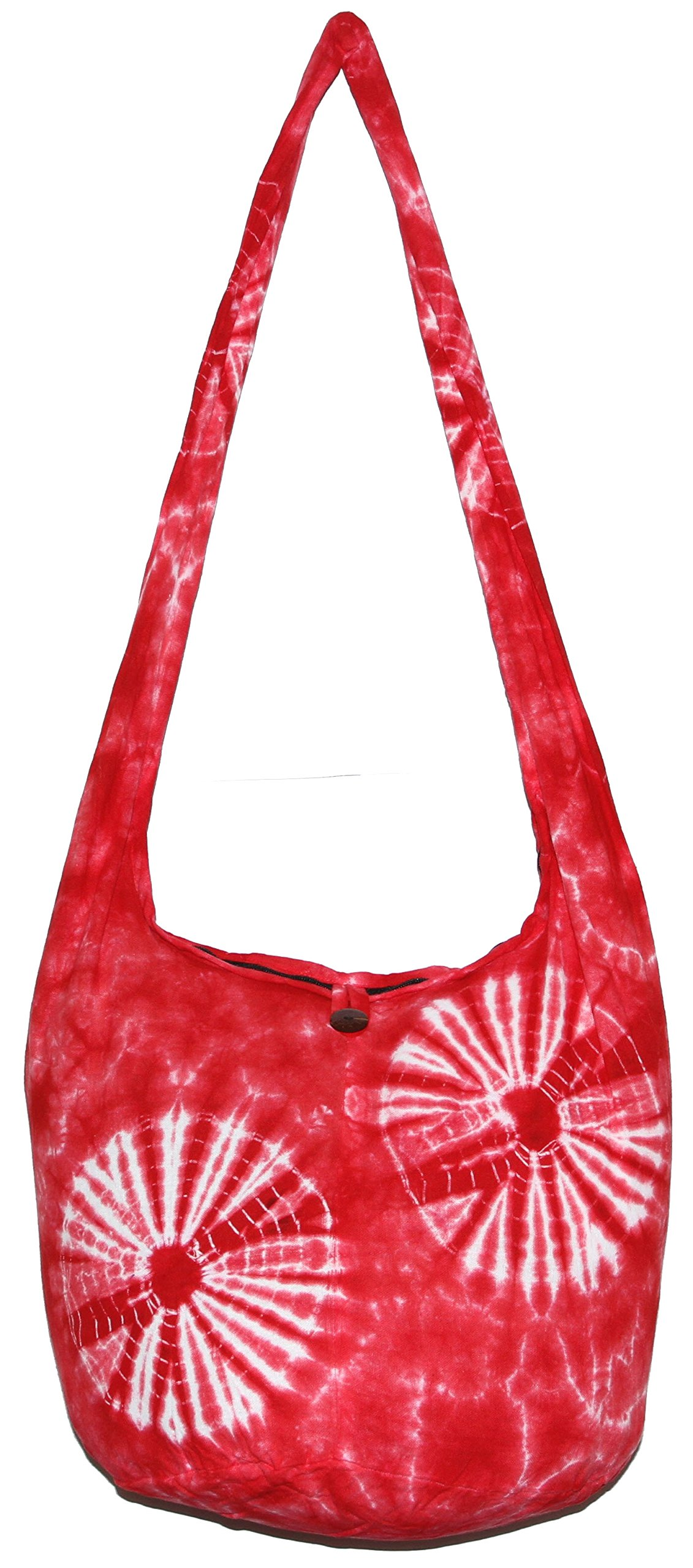 TIE DYE Bohemian Hipster Hobo Boho Hippie Crossbody Bag Purse 39'' 2 Stars (Red)