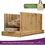 Bamboo Bread Slicer | Perfect Homemade Bread Slices Using Wooden Cutting Guide | Compact & Foldable | FREE Storage Tote Bag!