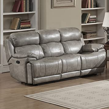 AC Pacific Estella Collection Contemporary Upholstered Leather Recliner Sofa  With Dual Recliners, Gray Part 90