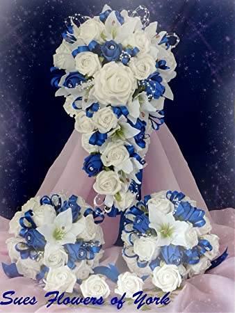 Wedding flowers brides set in royal blue and white amazon wedding flowers brides set in royal blue and white mightylinksfo