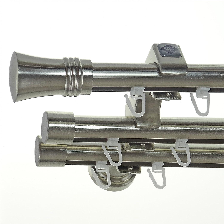 Innenlauf Edelstahl Look Gardinenstange 20mm Wandträger 3-läufig mit Knauf H60 E86E30 II+ 1x B20I, Länge 320 cm