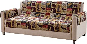 Western Wildlife Cabin Lodge Quilted Couch Sofa Loveseat Armchair Chair and Recliner Slipcover With Patchwork of Moose Bear Deer Antlers in Charcoal Red Bordeaux Beige and Brown (W3 Beige, Sofa)