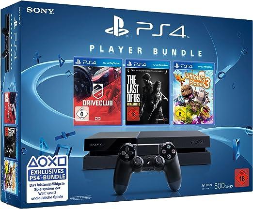 Sony PlayStation 4 + DRIVECLUB, LittleBigPlanet 3, The Last of Us Remastered Negro 500 GB Wifi - Videoconsolas (LittleBigPlanet 3, The Last of Us Remastered, PlayStation 4, Negro, 8192 MB, GDDR5, AMD Jaguar, AMD Radeon): Amazon.es: Videojuegos