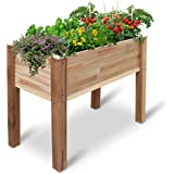Jumbl Raised Canadian Cedar Garden Bed   Elevated Wood Planter for Growing Fresh Herbs, Vegetables, Flowers, Succulents…