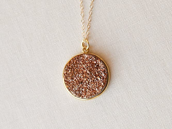 Amazoncom Rose Gold Druzy Necklace 14K Gold Handmade Size Small