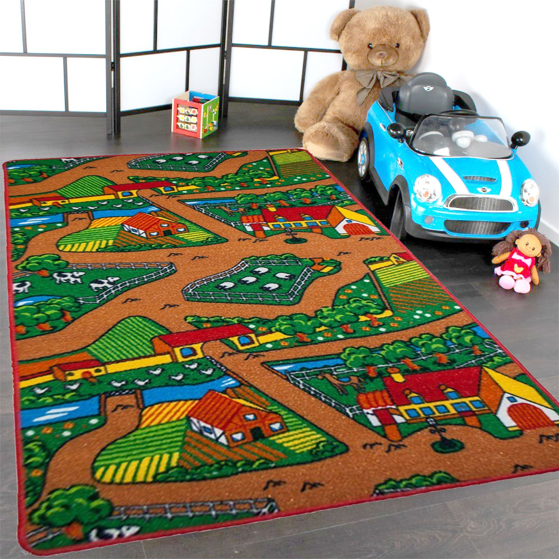 Kids Rug Farm Area Rug 3' x 5' Children Area Rug for Playroom & Nursery - Non Skid Gel Backing 39'' x 58'' by Mybecca