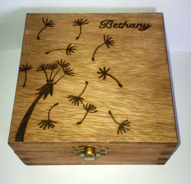Personalised Wood Jewellery Memory Box 12cm Dandelion Seeds Keepsake Mum Nan Gift Love Rustic Natural Wood Wedding Bridesmaid Wish Box Christmas Valentines Birthday Gift