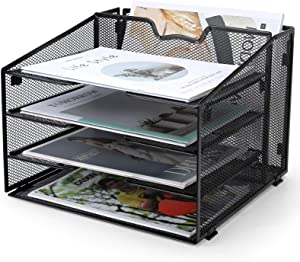 ProAid Mesh Desk Letter Tray Organizer, Desk File Folder Hoder Organizer, Metal Document File Tray, Easy to Assemble Paper Tray, Black
