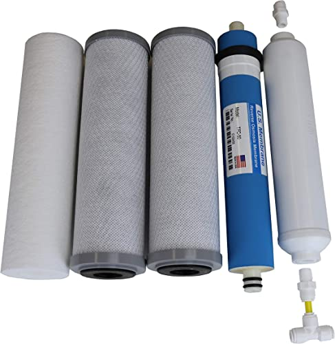Compatible APEC Ultimate Complete 5 stage high capacity filter set for model ROES-50, RO-45, RO-PUMP RO Reverse Osmosis systems, 100 compatible instructions and free tech support, provided by Alton