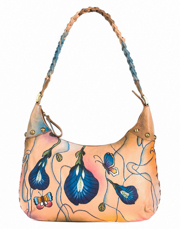 ZIMBELMANN AGNES Genuine Nappa Leather Hand-painted Hobo Shoulder Bag by Zimbelmann