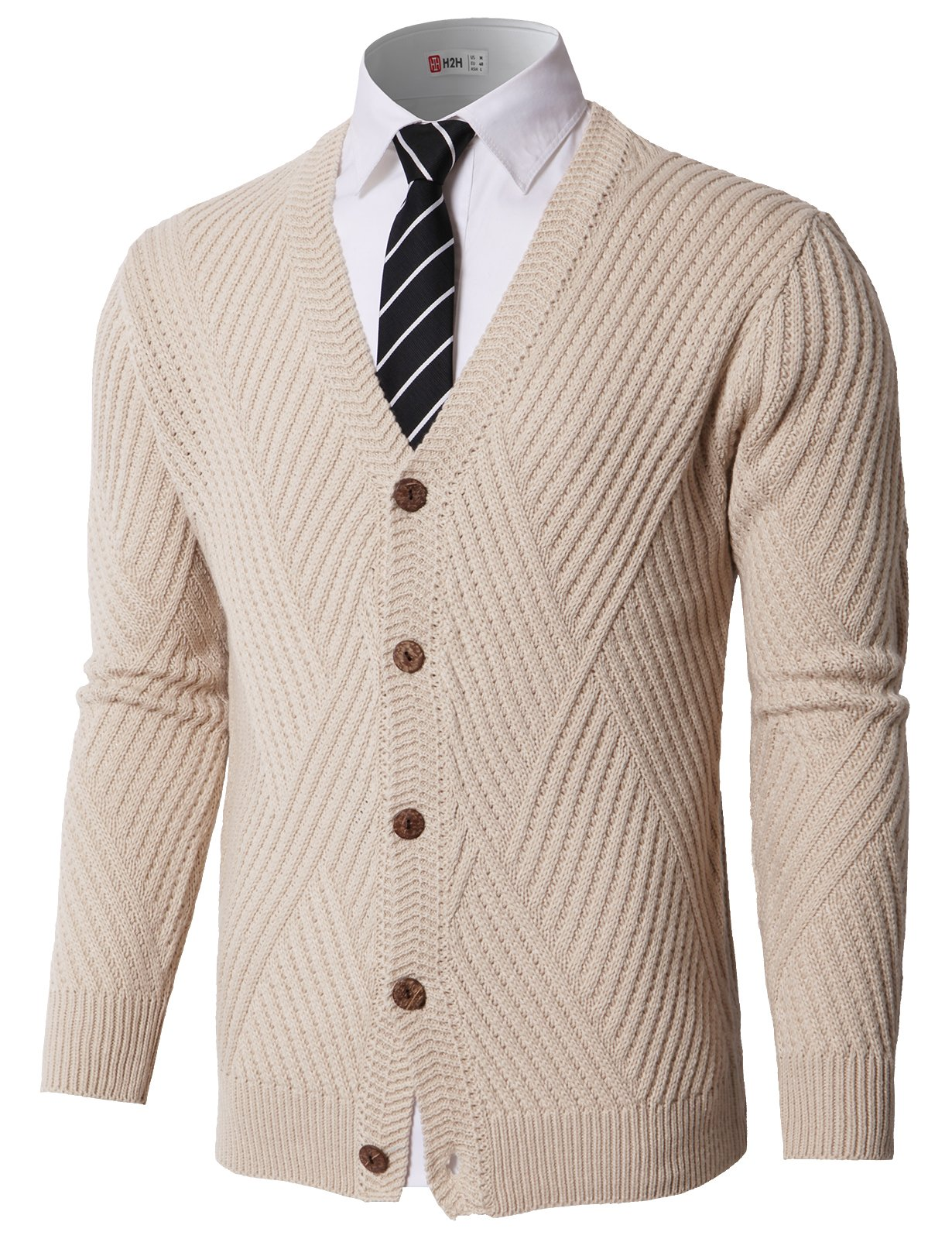 H2H Mens Slim Fit Stylish Button up Cardigan Beige US L/Asia L (KMOCAL0176)