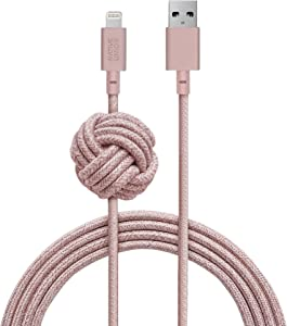 Native Union Night Cable - 10ft Ultra-Strong Reinforced [Apple MFi Certified] Durable Lightning to USB Charging Cable with Weighted Knot for iPhone/iPad (Rose)