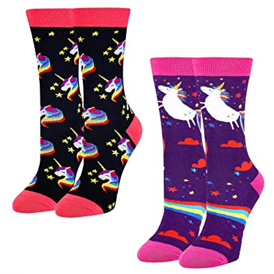 2 Pack Women Novelty Funny Socks Animal Unicorn Colorful Rainbow Crew Socks (Unicron, Medium) at Amazon Women's Clothing store