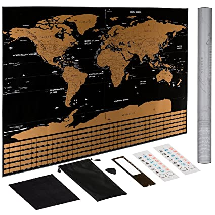 Amazon scratch off world map poster us states outlined scratch off world map poster us states outlined travel scratch off map of the gumiabroncs Gallery