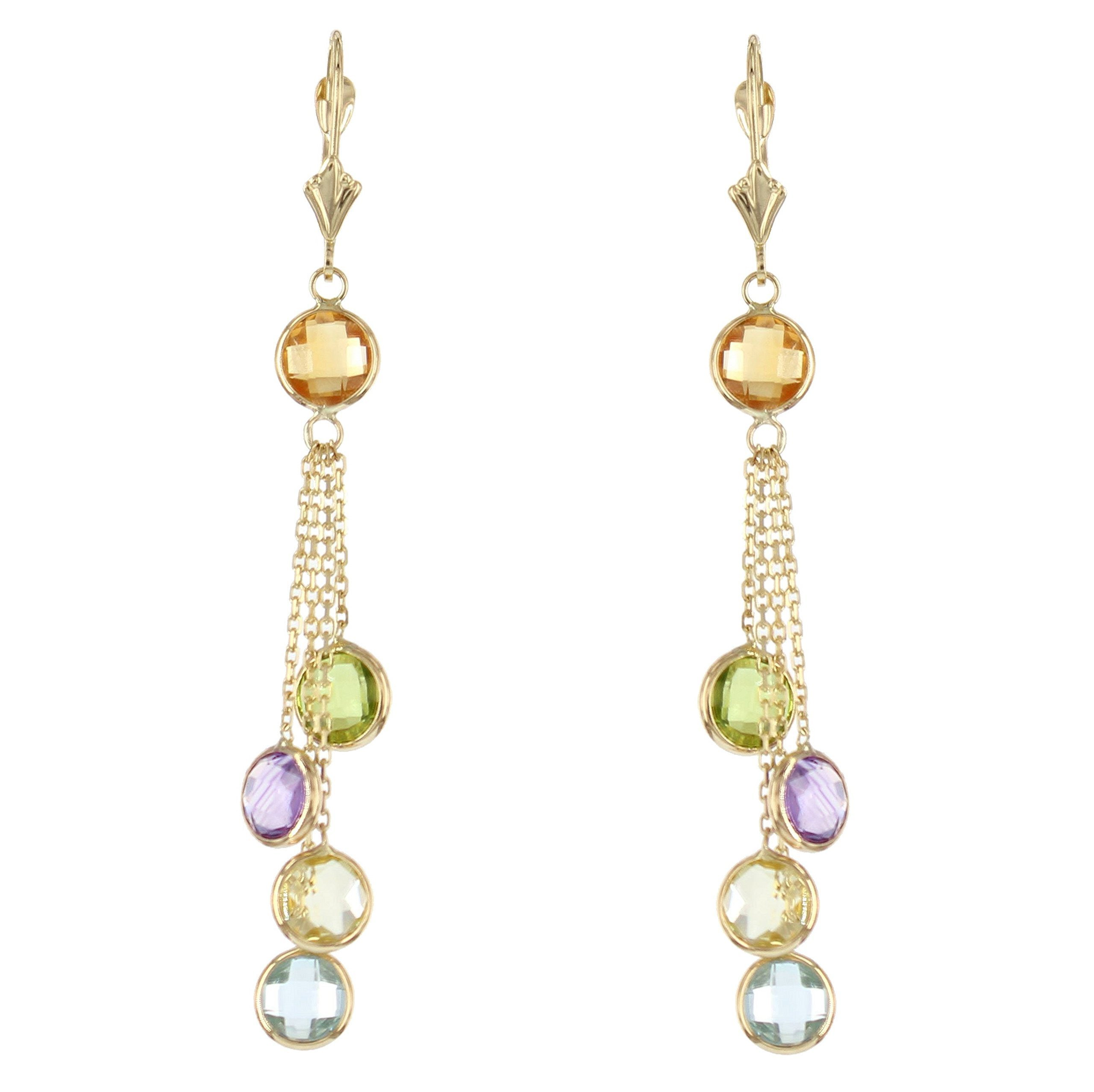 14k Yellow Gold Chandelier Earrings with Round Gemstone Stations