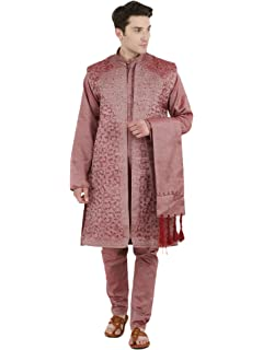 Kurta Pajama for Men 4-Piece Set Sherwani Long Sleeve Button Down Shirt Wedding Party