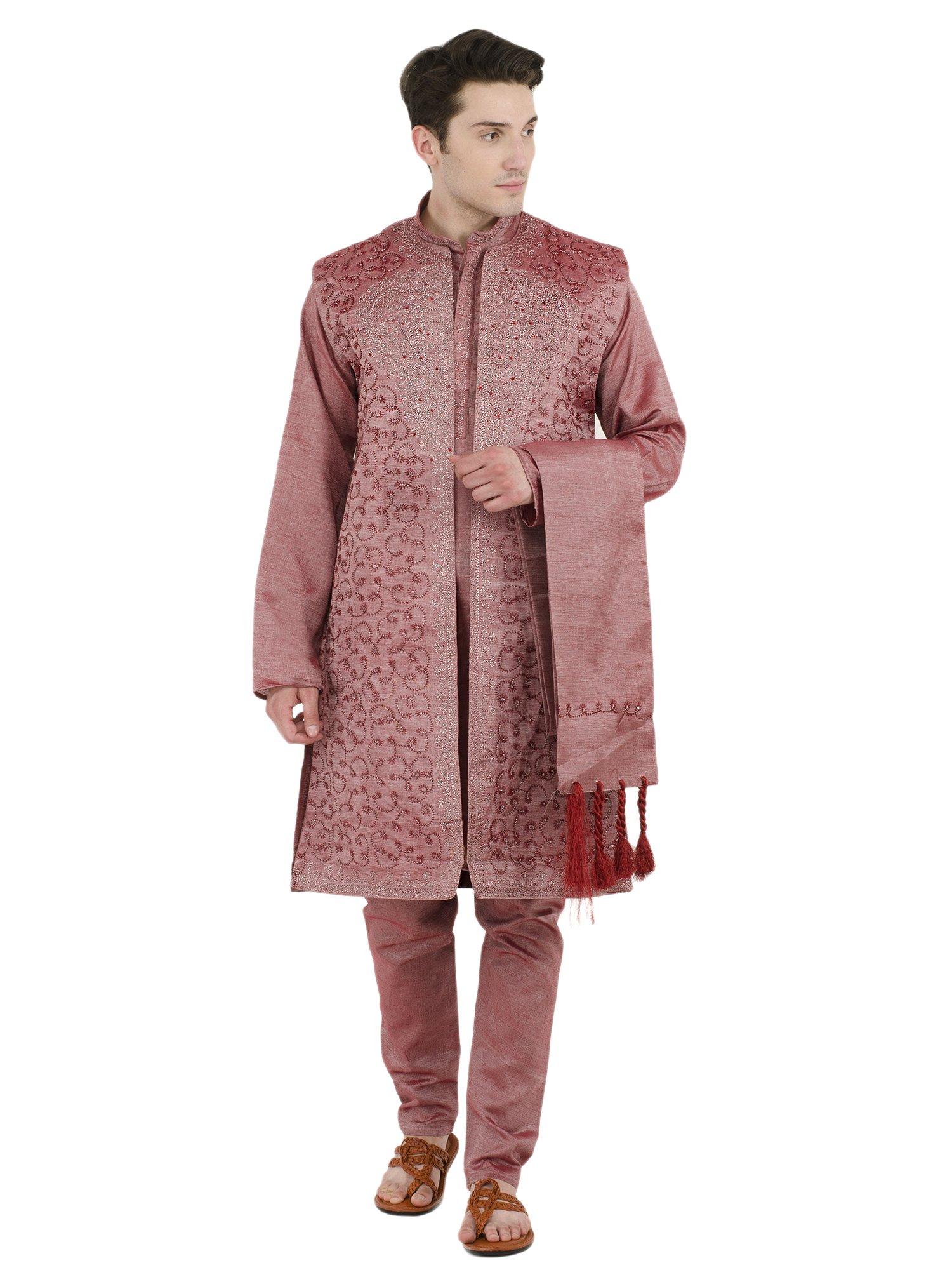 Kurta Pajama Indian 4-Pieces Wedding Party Dress Pink Long Sleeve Button Down Shirt Clothes -XL